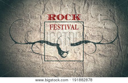 Creative Rock music festival poster template. Image of man with horns of the deer. Invitation card design. Concrete grunge texture