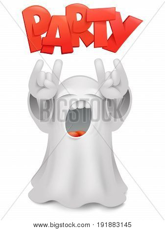 Cute phantom emoticon ghost character horns gesture. Vector illustration