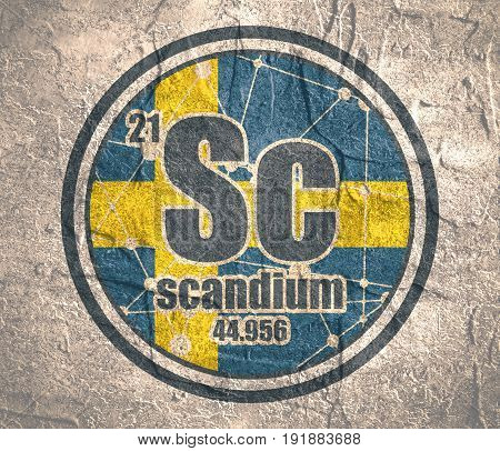 Scandium chemical element. Sign with atomic number and atomic weight. Chemical element of periodic table. Connected lines with dots. Flag of Sweden. Concrete grunge texture