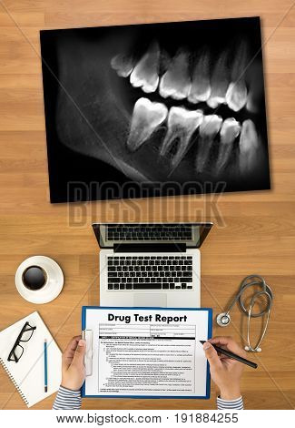 Dental X-ray Doctor Holding And Looking And Healthcare Medicine