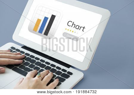 Illustration of business chart analysis on laptop