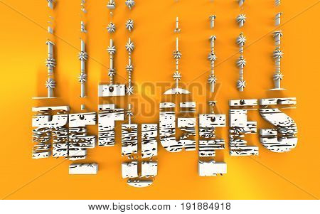 Image relative to migration from africa to european union. Refugees text hanging by barbed wire. Distressed grunge texture. 3D rendering. Golden metallic material