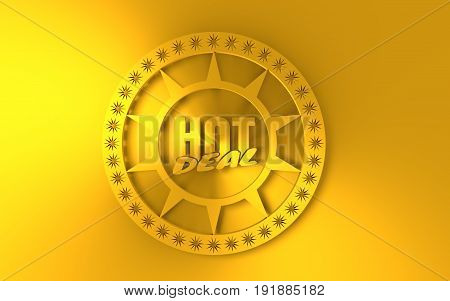 Stamp icon. Graphic design elements. 3D rendering. Hot deal text. Golden metallic material
