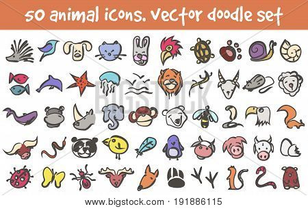 Vector doodle animal icons set. Stock cartoon signs for design.