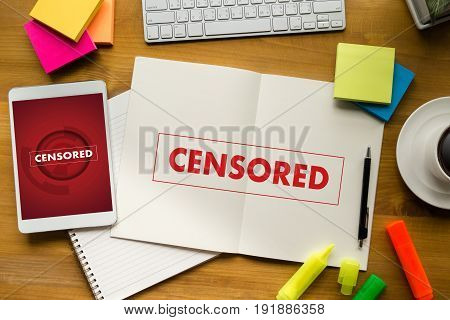 Censored  Businessman At Work. Close-up Top View Of Man Working
