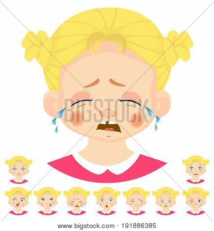 Set of human emotions. Facial expression. Set of emoticons. Flat vector illustration. Cry