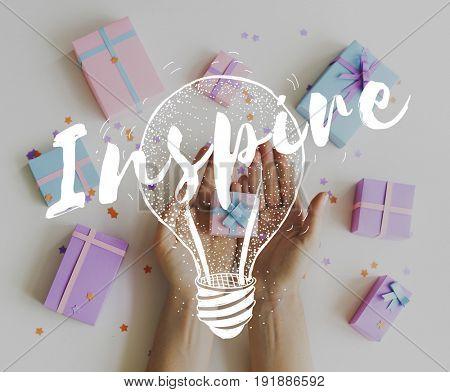 Inspiration Word Light Bulb Graphic