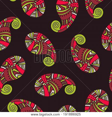 Seamless indian cucumbers background. Vector abstract pattern of tattoo henna paisley.
