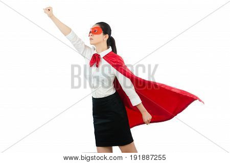 Lady Standing Gesturing Take Off Hands