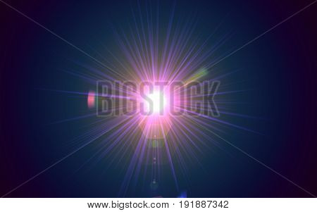 Lighting Abstract with digital lens flare.Spectum flare lighting with black background