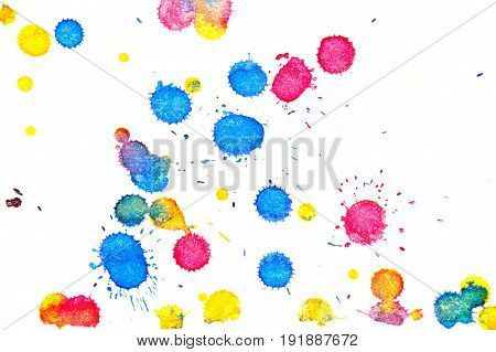 Abstract red yellow and blue ink splash. Ink blots. Elements of design. The water-soluble ink on white paper Leste. Abstract modern art.