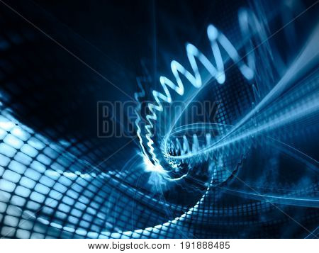 Abstract blue background element. Grids and curves series. Fractal graphics. Composition of net shapes, curves, motion blur and waveforms.