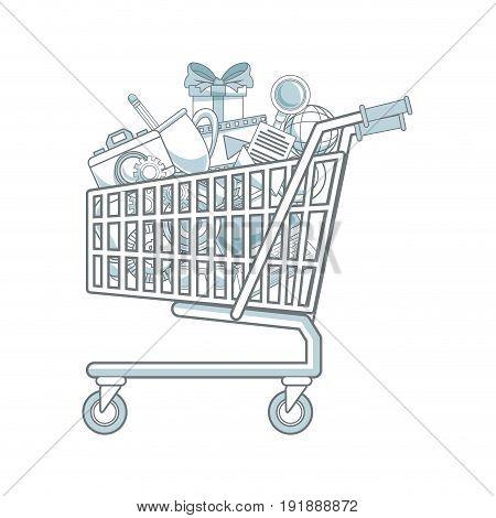 shopping cart full of social media items vector illustration