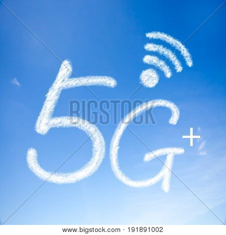 5G Plus Signal Communication Icon With Nice Background