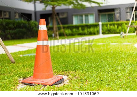 Traffic Cones Standing On The Green Grass