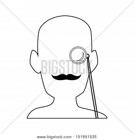 silhouette man portrait wear monocle and mustache vector illustration