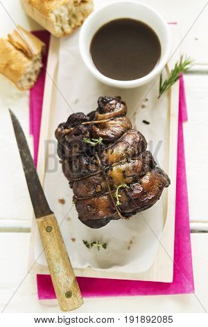 Braised lamb shoulder with rosemary and fresh bread