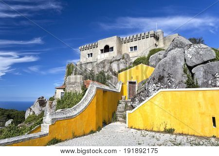 View of the Peninha Sanctuary located in the Sintra Mountain range near Lisbon Portugal