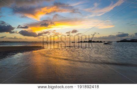 Beautiful sky and sunset at dusk in East Woody beach of Nhulunbuy, Northern Territory, Australia.
