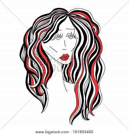 Sad woman with beautiful hair and red lips. Digital sketch grafic black and white style. Vector illustration
