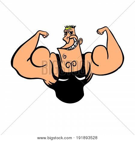 Cartoon character, muscular man, vector illustration, fitness model, posing, bodybuilding, mens physics posing
