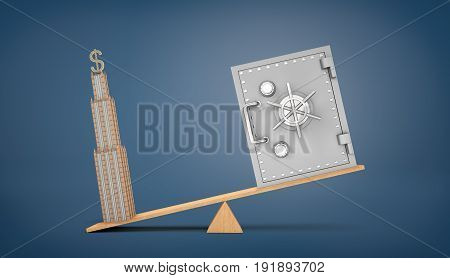 A wooden seesaw on blue background holding a heavier business building with a USD sign on top and a lighter safe box. Property or bank savings. Real estate investment. Business tower.