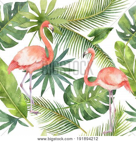 Watercolor seamless pattern of flamingo and palm trees isolated on white background. Hand painted illustration for design kitchen, bio food, menu, healthy eating, textiles, market.