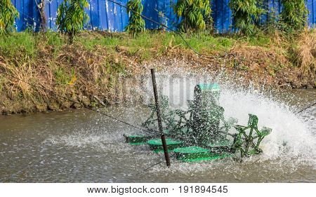 Wastewater Treatment Equipment Working in a pond