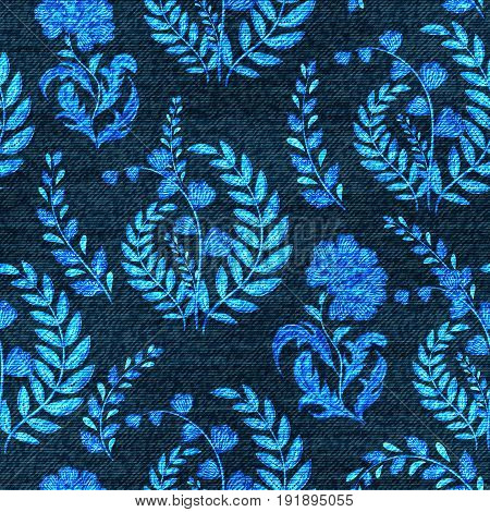 Vector Denim floral seamless pattern. Faded jeans background with fantasy flowers. Blue jeans cloth background.