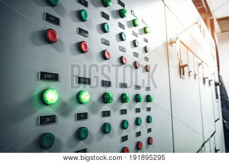 industrial electrical current  switch panel manufacturing room