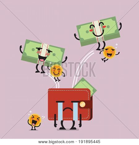 Happy money jumping out of desperate wallet. Funny cartoon emoticons