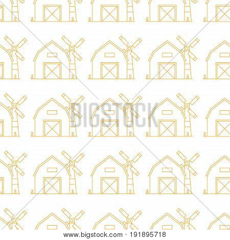 Simple seamless pattern. Vector background with farm barns and mills. Can be used for wallpaper, surface textures, scrapbooking, fabric prints. For farm fresh organic products, brochures and banners.
