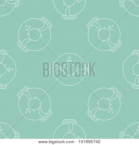 Simple seamless pattern. Vector background with lifebuoys. Can be used for wallpaper, surface textures, scrapbooking, fabric prints. For sea or aquapark products, travel agency brochures and banners.