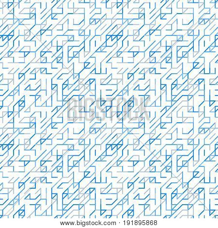 Geometric random lines pattern. Abstract technology background with blue and grey geometric shapes in tessellation on white. Linear abstract lattice random coloring. Vector seamless linear pattern.