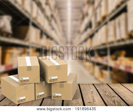 3d rendering heap of stockpile with warehouse blurred background
