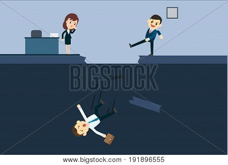 Businessman kick a employee to abyss of office.Blackmail business concept vector illustration.Business betray situation.