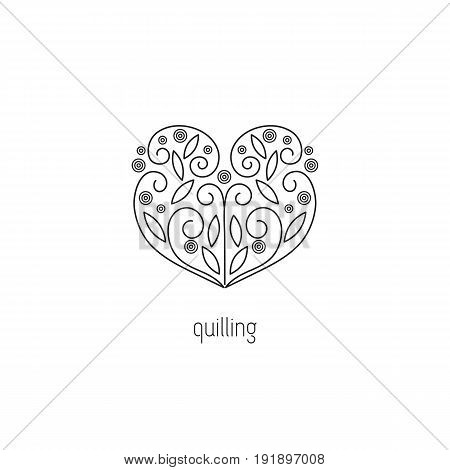 Quilling vector thin line icon. Heart, made in technique of paper rolling. Colored isolated symbol. Logo template, element for business card or workshop announcement. Simple mono linear modern design.