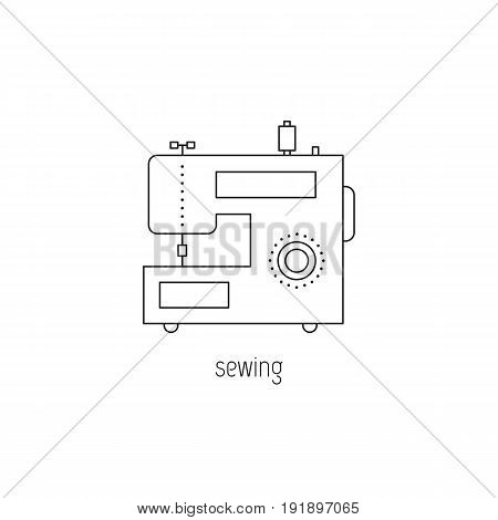Sewing vector thin line icon. Modern sewing machine. Colored isolated symbol. Logo template, element for business card or workshop announcement. Simple mono linear modern design.