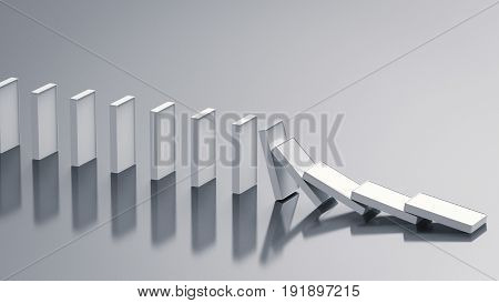 3d rendering white dominoes falling on grey background