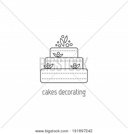 Cakes decorating vector thin line icon. A big cake. Black on white isolated symbol. Logo template, element for business card or workshop announcement. Simple mono linear modern design.