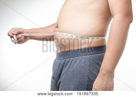 Overweight Man With Tape Measure Around Waist