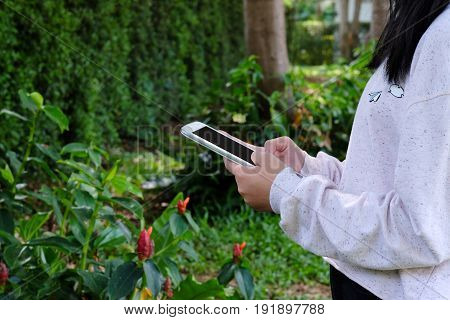Woman hand using tablet on green park background business and technology concept gen Z digital marketing lifestyle the internet of things social media network
