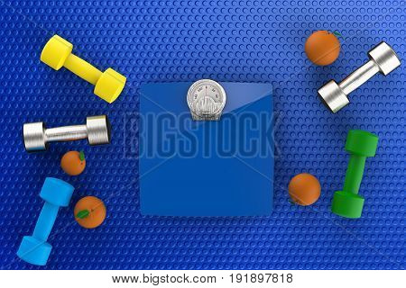 healthcare concept with 3d rendering weight scales with dumbbells and oranges