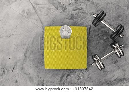 3d rendering weight scales with metal dumbbells