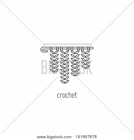 Crochet vector thin line icon, a hook with yarn. Black on white isolated symbol. Logo template, element for business card or workshop announcement. Simple mono linear modern design.