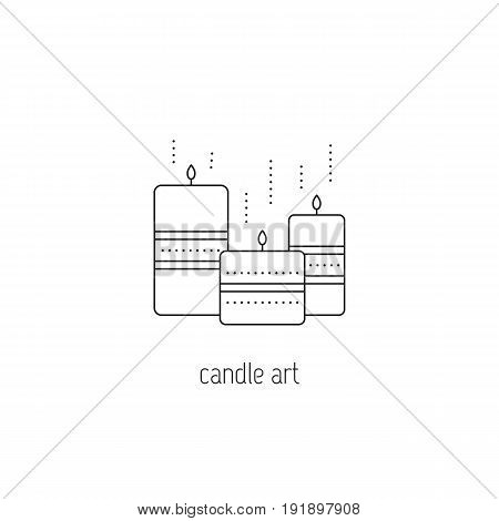 Candle art vector thin line icon. Handmade decorated candles. Isolated symbol. Logo template, element for business card or workshop announcement. Simple mono linear modern design.
