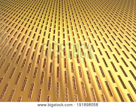 3d rendering golden mesh or golden sieve background