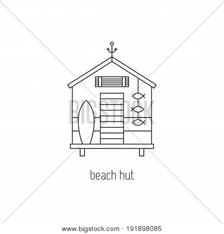 Beach hut vector thin line icon. Isolated symbol. Logo template, element for summer products, travel agency, tour brochure, banner. Simple mono linear modern design.