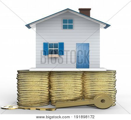 ownership concept with 3d rendering mock up house and golden keys