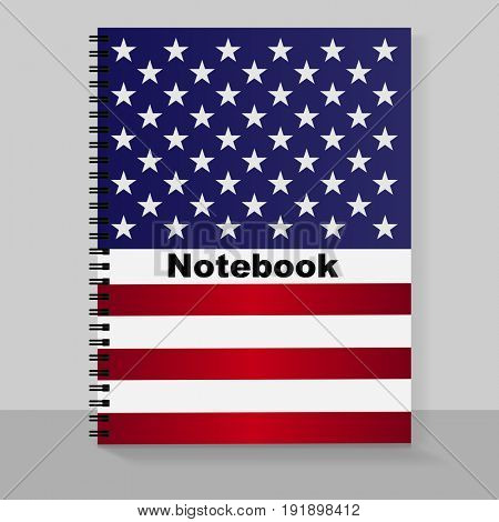 Template cover A4 notebook with individual design: the US flag. Vector illustration.